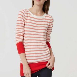 LOFT Striped Banded Sweater Red and Pink Size S
